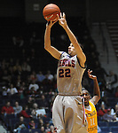"Ole Miss' Marshall Henderson shoots vs. McNeese State's Kevin Hardy (11) at the C.M. ""Tad"" Smith Coliseum in Oxford, Miss. on Tuesday, November 20, 2012. .."