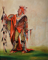 The Watchful Fox or Kee-o-kuk, Chief of the Tribe with Tinseled Buck no. 4,520, painting, acrylic on canvas, 2008, by Kent Moneyman, Cree artist, born 1965, in the Denver Art Museum, Denver, Colorado, USA. Picture by Manuel Cohen