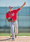 25 February 2016: Washington Nationals pitcher Sammy Solis throws during the first full squad Spring Training workout at Space Coast Stadium in Viera, Florida. Mandatory Credit: Ed Wolfstein Photo *** RAW (NEF) Image File Available ***