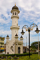 The minaret of the Kapitang Keling Mosque at Chulia St., George Town, Penang.