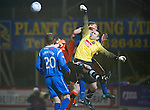 St Johnstone v Dundee United....22.02.11 .Dusan Pernis under pressure from Jamie Adams.Picture by Graeme Hart..Copyright Perthshire Picture Agency.Tel: 01738 623350  Mobile: 07990 594431