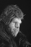 "March 1981, Scotland, UK. American actor Ron Perlman plays the character of Amoukar, on the set of ""Quest for Fire"" (La guerre du feu) by French director Jean-Jacques Annaud, and based on the novel of JH Rosny. Image by © JP Laffont"