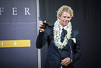 Turtle Bay Resort, North Shore, Oahu, Hawaii. (Tuesday December 6, 2016): Winner of the reader poll, John John Florence (HAW) - the annual Surfer Poll Awards were held tonight at the Turtle Bay Resort with the new world champion John John Florence (HAW) taking out the #1 spot on the Men's Reader Poll and Carissa Moore (HAW) #1 on the women's poll. Photo: joliphotos