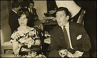 BNPS.co.uk (01202 558833)<br /> Pic: Gorringes/BNPS<br /> <br /> ****must use full byline****<br /> <br /> The Krays on holiday in Jersey.<br /> <br /> A diary kept by the tragic wife of Reggie Kray describing her hellish life with the gangster including having to share a bed with a gun and a flick-knife has emerged.<br /> <br /> Long-suffering Frances Kray wrote of the constant abuse and drunken temper bouts she endured at the hands of the East End villain.<br /> <br /> Describing how Reggie kept a cache of deadly weapons in their bedroom, she said: &quot;(He) came back night time. By the side of bed gun, sword, knife, chopper, flick-knife.<br /> <br /> &quot;He used to sleep with flick-knife under his pillow.&quot;<br /> <br /> The diary along with letters and photographs are being auctioned tomorrow (Weds) at Gorringes, East Sussex.