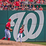 28 September 2014: Washington Nationals outfielder Nate Schierholtz pulls in a fly ball during play against the Miami Marlins at Nationals Park in Washington, DC. The Nationals shut out the Marlins 1-0, caping the season with the first Nationals no-hitter in modern times. The win also notched a 96 win season for the Nats: the best record in the National League. Mandatory Credit: Ed Wolfstein Photo *** RAW (NEF) Image File Available ***