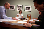 Craig Gurian, left, an attorney from The Anti-Discrimination Center who brought a fair housing lawsuit against Westchester County, works with colleagues Lori Bikson, center, Heather Rogers, right back corner, and Samantha Cook, right, in his office in New York, NY on October 23, 2012.