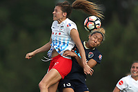 Cary, North Carolina  - Sunday May 21, 2017: Sofia Huerta and Jaelene Hinkle during a regular season National Women's Soccer League (NWSL) match between the North Carolina Courage and the Chicago Red Stars at Sahlen's Stadium at WakeMed Soccer Park. Chicago won the game 3-1.
