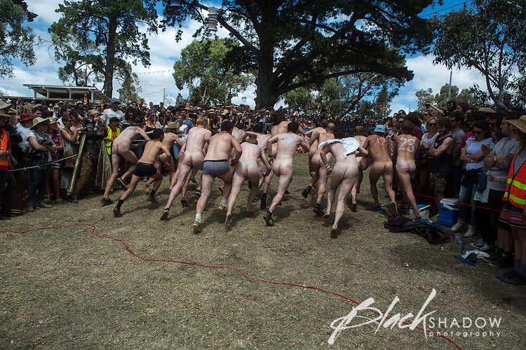 Staging of The Gift the annual nude race at Meredith Music Festival 2012 held at the Meredith Supernatural Ampitheatre, 7-9 December 2012