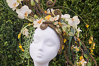Hat Made from Orchid Flowers &amp; Plants designed by Sarah Horne, Sarah Horne Flowers, Warwickshire, England