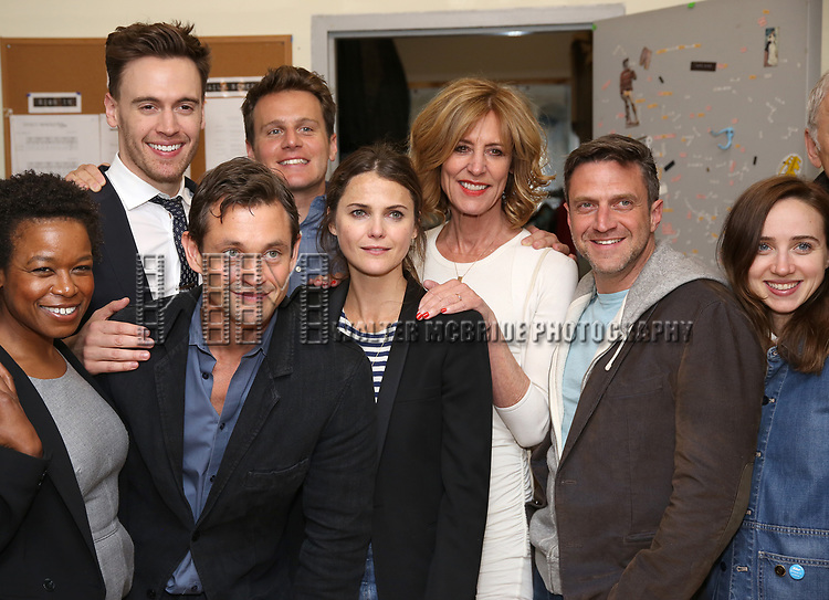 Quincy Tyler Bernstine, Erich Bergen, Hugh Dancy, Jonathan Groff, Keri Russell, Christine Lahti, Raul Esparza, Zoe Kazan backstage at the Indigo Theatre Project's Benefit Reading of  'An America Daughter'  at The Tony Kiser Theater on May 8, 2017 in New York City.