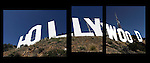 Triptych of the Hollywood sign on March 22, 2012