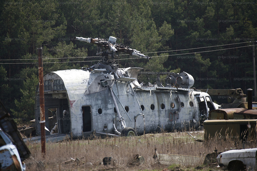 Chernobyl, Exclusion Zone, Ukraine. Car and aircraft graveyard, Helicopters used to place lead over damaged Chernobyl Reactor, plant and environs just before the 20th anniversary of the nuclear disaster.