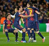 FUSSBALL  CHAMPIONS LEAGUE  ACHTELFINALE  RUECKSPIEL  2012/2013      FC Barcelona  - AC Mailand      13.03.2013 JUBEL Barca ;  Jordi Alba, Sergio Busquets, David Villa und Torschuetze zum 1-0 Lionel Messi (v.li.)