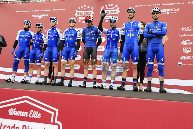Quick-Step Floors team at sign on before the start of the 2017 Strade Bianche running 175km from Siena to Siena, Tuscany, Italy 4th March 2017.<br /> Picture: Eoin Clarke | Newsfile<br /> <br /> <br /> All photos usage must carry mandatory copyright credit (&copy; Newsfile | Eoin Clarke)