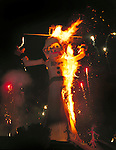 """Flames engulf Zozobra (""""Old Man Gloom"""") as part of the annual Fiesta de Santa Fe, New Mexico"""