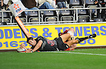 James Hook thinks he scored only to be pulled into touch. Ospreys V Worcester Warriors, EDF Energy Cup  © Ian Cook IJC Photography iancook@ijcphotography.co.uk www.ijcphotography.co.uk