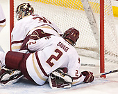 Joe Woll (BC - 31), Scott Savage (BC - 2) - The visiting Boston University Terriers defeated the Boston College Eagles 3-0 on Monday, January 16, 2017, at Kelley Rink in Conte Forum in Chestnut Hill, Massachusetts.