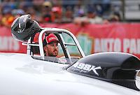 May 1, 2016; Baytown, TX, USA; NHRA super gas driver Rustin Mayse after winning the Spring Nationals at Royal Purple Raceway. Mandatory Credit: Mark J. Rebilas-USA TODAY Sports