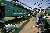 Russian helicopter flying from a Tadzhik military base to delivering arms and ammunition to warlord Ahmad Shah Massoud  in Khoaja Bahauddin.
