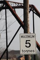 Maximum Load Sign at Truss Bridge Entrance