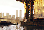 Evening sunlight washes the Manhattan Bridge after a December rainstorm in 2000.