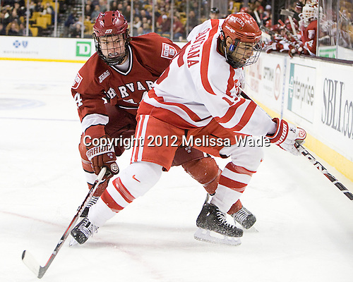 Max Everson (Harvard - 44), Ryan Santana (BU - 15) - The Boston University Terriers defeated the Harvard University Crimson 3-1 in the opening round of the 2012 Beanpot on Monday, February 6, 2012, at TD Garden in Boston, Massachusetts.