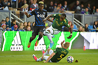 San Jose, CA - Saturday May 06, 2017: Cordell Cato, Vytas Andriuškevičius,  during a Major League Soccer (MLS) match between the San Jose Earthquakes and the Portland Timbers at Avaya Stadium.