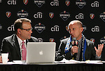 13 January 2012: Philadelphia Independence head coach Paul Riley (right) talks with broadcaster Dean Linke (left). Women's Professional Soccer held the 2012 WPS Draft at the Kansas City Convention Center in Kansas City, MO.
