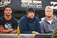 """JEFFREYS BAY, South Africa (Saturday, July 23, 2011) - Michel Bourez (PYF), Andy King (AUS) and Mick Fanning (AUS).  The Billabong Pro Jeffreys Bay, Event No. 4 of 11 on the 2011 ASP World Title season recommenced this morning with Round 3 at 7:15am in consistent four-to-six foot (1.5 metre) surf.. .After navigating a period of tricky swell, event organizers had been greeted with excellent conditions this morning, opening with Round 3 of competition and following with Rounds 4 and 5.. .""""It's been a lengthy wait but we're excited to have such good surf on offer today and will be making the most of it,"""" Rich Porta, ASP International Head Judge, said. .Surfline, official forecasters for the Billabong Pro Jeffreys Bay, are calling for a solid SSW push through the day.. .  Photo: joliphotos.com"""