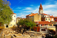 ruins of the Roman city gates with the east medieval quarter of Zadar, Croatia