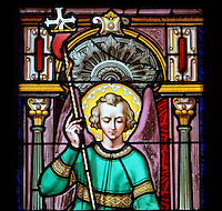 Stained glass window of St Michael by Julien Leopold Lobin, 1814-64, installed 1855, in the Royal Chapel, on the second floor of the Phare de Cordouan or Cordouan Lighthouse, built 1584-1611 in Renaissance style by Louis de Foix, 1530-1604, French architect, located 7km at sea, near the mouth of the Gironde estuary, Aquitaine, France. This is the oldest lighthouse in France. There are 4 storeys, with keeper apartments and an entrance hall, King's apartments, chapel, secondary lantern and the lantern at the top at 68m. Parabolic lamps and lenses were added in the 18th and 19th centuries. The lighthouse is listed as a historic monument. Picture by Manuel Cohen
