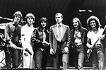 Journey 1981 with California Governor Jerry Brown. l-r Jonathan Cain, Ross Valory, Steve Perry, Jerry Brown, Steve Smith, Neal Schon.© Chris Walter.