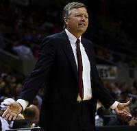 San Antonio head coach Dan Hughes expresses his disagreement over a call during the WNBA game between the San Antonio Silver Stars and the Washington Mystics, June 6, 2008, at the AT&T Center, San Antonio, Texas. (Darren Abate/PressPhotoIntl.com)