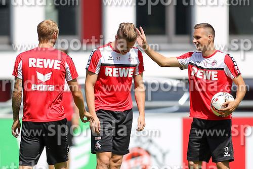 16.07.2015, Geissbockheim, Koeln, GER, 1. FBL, 1. FC Koeln, Training, im Bild Yannick Gerhardt (1. FC Koeln #31) und Slawomir Peszko (1. FC Koeln #17) // during a practice session of German Bundesliga Club 1. FC Cologne at the Geissbockheim in Koeln, Germany on 2015/07/16. EXPA Pictures &copy; 2015, PhotoCredit: EXPA/ Eibner-Pressefoto/ Schueler<br /> <br /> *****ATTENTION - OUT of GER*****