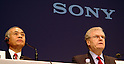 Sony Corp. President Ryoji Chubachi and chairman and chief executive Howard Stringer attend a press conferenced held at the company's headquarters in Tokyo on Friday night. Chubachi is stepping down as president, and Stringer ill stay on, adding the presidency as another title.  27 February, 2009. (Taro Fujimoto/JapanToday/Nippon News)