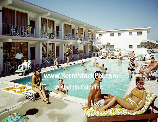 Bonito Motel, Wildwood, NJ. Couple lounging by the pool