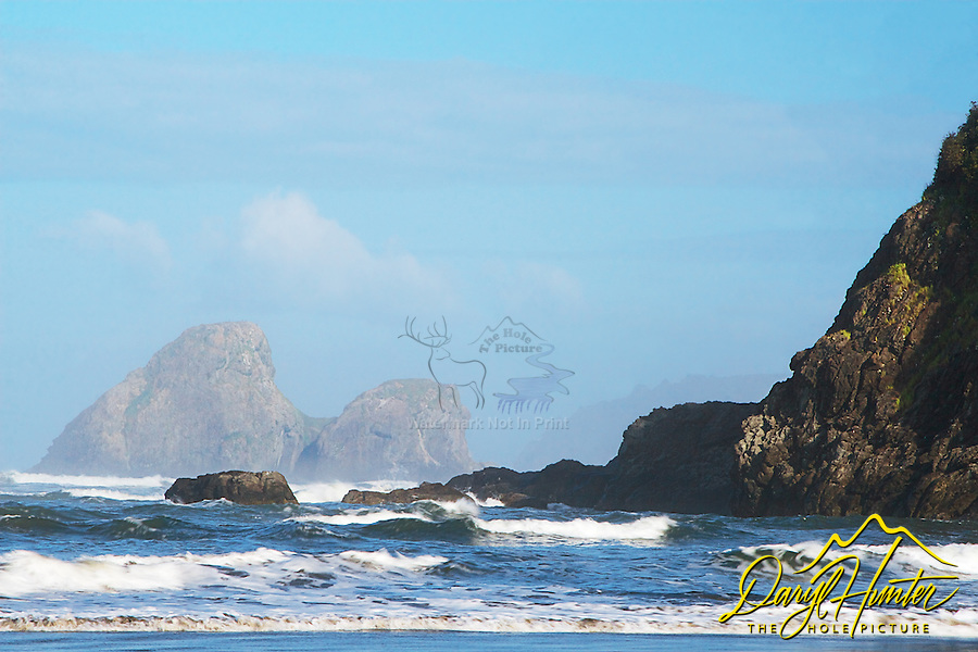 Sea stacks, morning sky,  Trinidad State Beach, Trinadad California