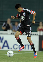 WASHINGTON, DC - AUGUST 4, 2012:  Long Tan (27) of DC United controls the ball against the Columbus Crew during an MLS match at RFK Stadium in Washington DC on August 4. United won 1-0.
