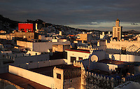 Rooftops of the medina or old town of Tetouan with the minaret of the 18th century Zaouiat Sidi ali Benraisoun or Octagonal Mosque on the right, on the slopes of Jbel Dersa in the Rif Mountains of Northern Morocco. Tetouan was of particular importance in the Islamic period from the 8th century, when it served as the main point of contact between Morocco and Andalusia. After the Reconquest, the town was rebuilt by Andalusian refugees who had been expelled by the Spanish. The medina of Tetouan dates to the 16th century and was declared a UNESCO World Heritage Site in 1997. Picture by Manuel Cohen