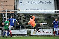 VOETBAL: SURHUISTERVEEN: Sportpark 't Ketting, 20-10-2012, vv 't Fean '58 - SC Veenwouden, Eindstand 2-1, Albert Jan van Zwol (#10 | aanvoerder Veenwouden), Willem van Kammen (#2 | aanvoerder 't Fean '58), keeper Jelmer van der Meer (#1 | 't Fean '58), Fokko van der Veer (#3 | 't Fean '58), ©foto Martin de Jong