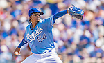 25 August 2013: Kansas City Royals pitcher Ervin Santana on the mound against the Washington Nationals at Kauffman Stadium in Kansas City, MO. The Royals defeated the Nationals 6-4, to take the final game of their 3-game inter-league series. Mandatory Credit: Ed Wolfstein Photo *** RAW (NEF) Image File Available ***