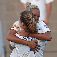 Boston Breakers forward Kyah Simon (17) celebrates her first goal of her three goal hat trick. In a Women's Premier Soccer League Elite (WPSL) match, the Boston Breakers defeated New England Mutiny, 4-2, at Dilboy Stadium on June 20, 2012.