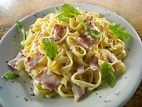 Tagliatelli pasta carbonara -pasta with a creamy cheese sauce and bacon