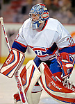 9 December 2006: Montreal Canadiens goaltender David Aebischer (30) of Switzerland warms up prior to a game against the Buffalo Sabres at the Bell Centre in Montreal, Canada. The Sabres defeated the Canadiens 3-2 in a shootout, taking their third contest in the month of December. Mandatory Photo credit: Ed Wolfstein Photo<br />  *** Editorial Sales through Icon Sports Media *** www.iconsportsmedia.com
