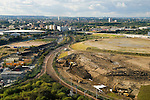 Looking down and northwards onto the proposed east London the site of the 2012 Olympic Games, village and arena.  Carpenter road and industrial area.  Stratford, England 2006.