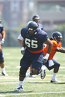 Virginia guard B.J. Cabbell during open spring practice for the Virginia Cavaliers football team August 7, 2009 at the University of Virginia in Charlottesville, VA. Photo/Andrew Shurtleff