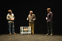 London, UK. 24.10.2014. THE WILD DUCK, by Simon Stone and Chris Ryan after Henrik Ibsen, opens at the Barbican. Picture shows: Brendan Cowell (Hjelmar Ekdal), Bob (duck), Richard Piper (Ekdal) and Dan Wyllie (Gregers Werle). Photograph © Jane Hobson.