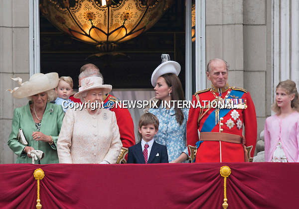 13.06.2015;London, UK: PRINCE GEORGE JOINS THE ROYALS<br />on the balcony of Buckingham Palace for his first Trooping the Colour.<br />Members of the Royal Family including the Duke of Edinburgh, Princes Charles, Andrew, William, Harry &amp; Michael as well as Catherine, Duchess of Cambridge, Camilla, Duchess of Cornwall, Kate, Princesses Anne, Eugenie, &amp; Michael, Lady Helen and Lady Loiuise Windsor attended the Trooping of the Colour which marks the Queen's Official Birthday.<br />This was the first time that Kate has been seen in public since the birrth of Princess Charlotte<br />Mandatory Photo Credit: Francis Dias/NEWSPIX INTERNATIONAL<br /><br />**ALL FEES PAYABLE TO: &quot;NEWSPIX INTERNATIONAL&quot;**<br /><br />PHOTO CREDIT MANDATORY!!: NEWSPIX INTERNATIONAL(Failure to credit will incur a surcharge of 100% of reproduction fees)<br /><br />IMMEDIATE CONFIRMATION OF USAGE REQUIRED:<br />Newspix International, 31 Chinnery Hill, Bishop's Stortford, ENGLAND CM23 3PS<br />Tel:+441279 324672  ; Fax: +441279656877<br />Mobile:  0777568 1153<br />e-mail: info@newspixinternational.co.uk