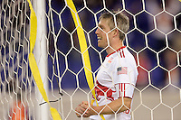 John Wolyniec (15) of the New York Red Bulls celebrates scoring his second goal of the game. The New York Red Bulls defeated the New England Revolution 3-0 during a U. S. Open Cup qualifier round match at Red Bull Arena in Harrison, NJ, on May 12, 2010.