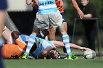 27 September 2014: UNC player scores a try. The University of North Carolina Tar Heels hosted the University of Virginia Cavaliers at Hooker Field in Chapel Hill, NC in a 2014-15 USA College Rugby match. North Carolina won the game 27-12.